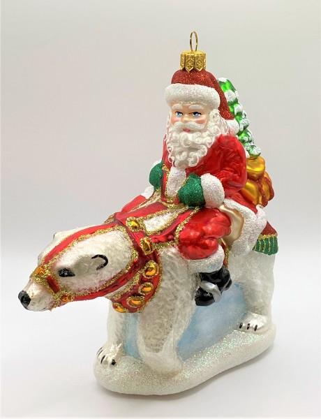 Santa Claus auf Eisbär reitend