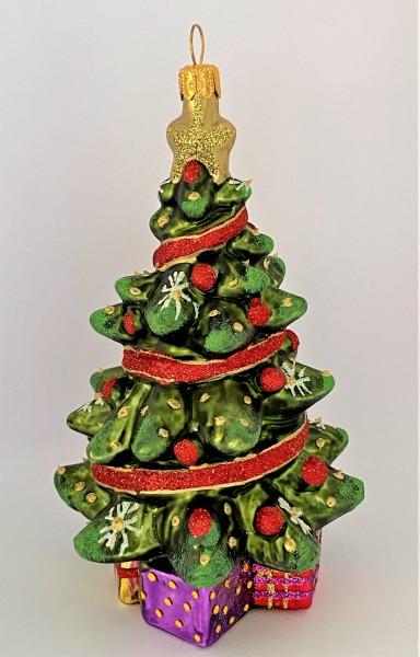 Christbaum mit roten Kugeln und rotem Band, KOMOZJA MOSTOWSKI