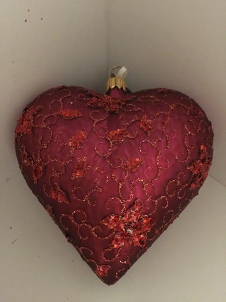 Herz Bordeaux matt, feines Blumendekor