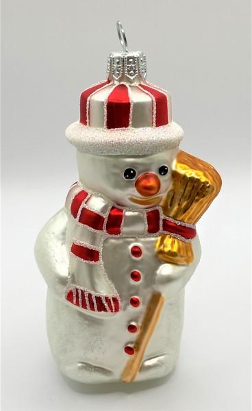 Schneemann mit gestreiftem Hut und Besen