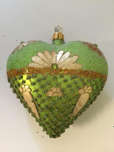 Herz grün/gold verziert