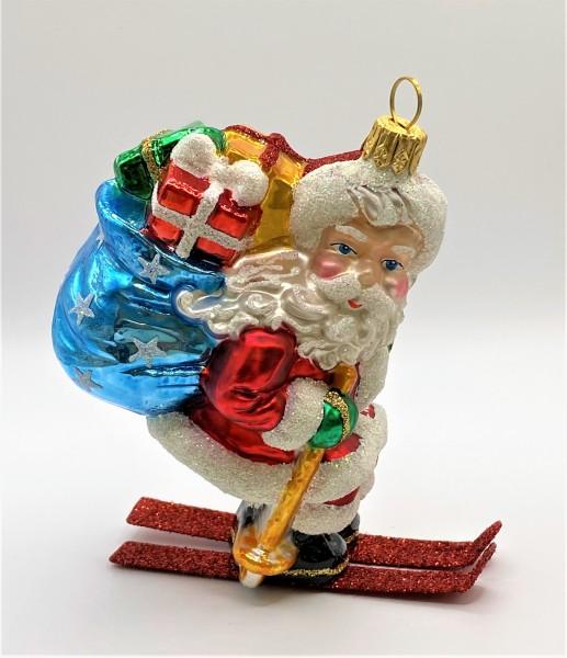 Santa auf Ski mit Sternen Geschenksack