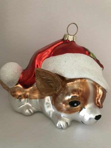 Hund versteckt sich unter der Weihnachtsmütze