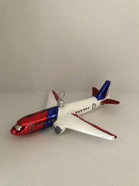 Flugzeug, weiß,rot,blau