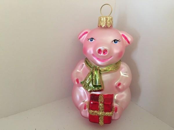 rosa Glücksschweinchen mit Päckli