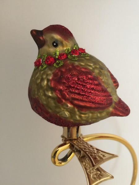 dickes Vögelchen auf Clip, mit Blumenkranz