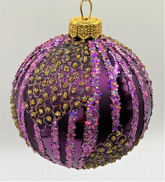 Kugel violett verziert mit goldenen Tupfen und Streifen
