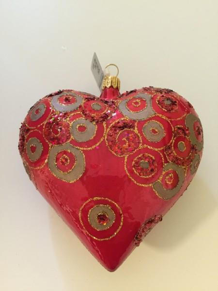 Herz rot glanz, mit Kreisen verziert