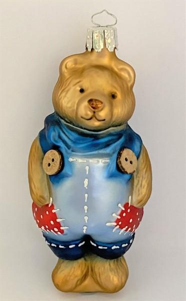brauner Bär in Flicken-Latzhose