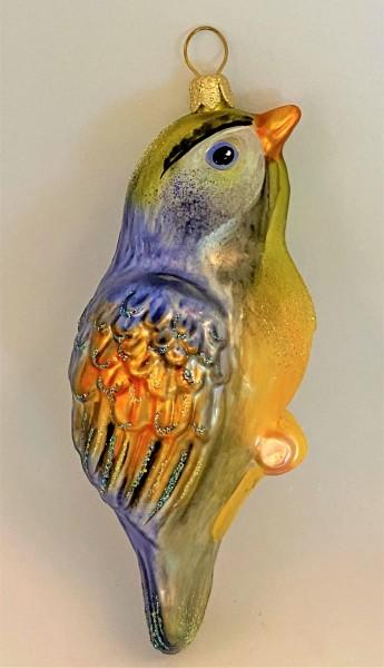 Vogel mit gelbem Bauch und blauem Rücken