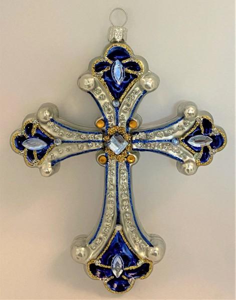 Kreuz Silber, blau mit Schmucksteinen
