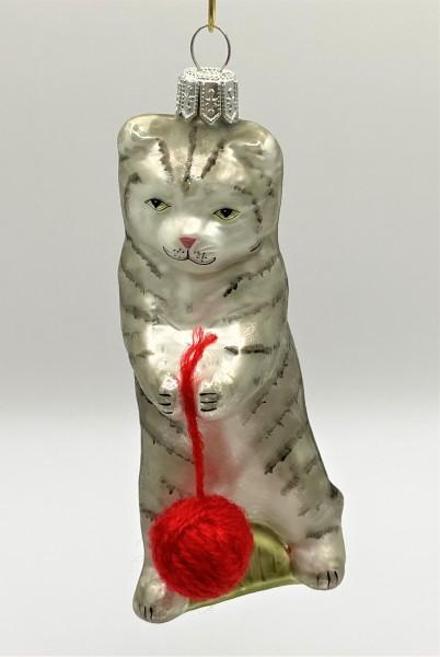 Graue Tiger-Katze spielt mit Wollknäuel
