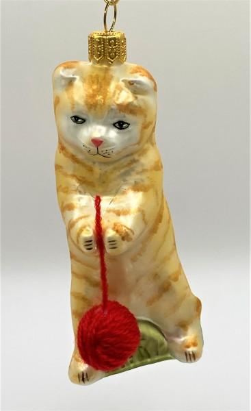 Rote Tiger-Katze spielt mit Wollknäuel