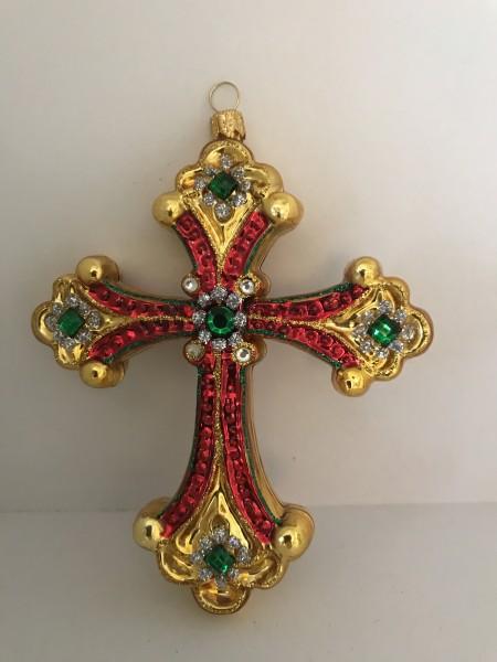 Kreuz , gold,rot,grün mit Schmucksteinen