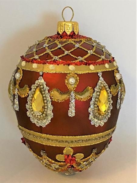 Rotes Faberge-Ei mit goldsilber Barock Muster, goldene Steine