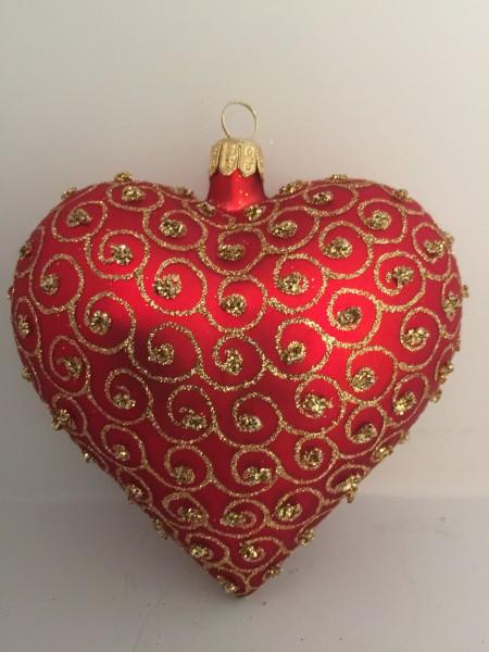 Herz rot matt mit goldenen Kringeln