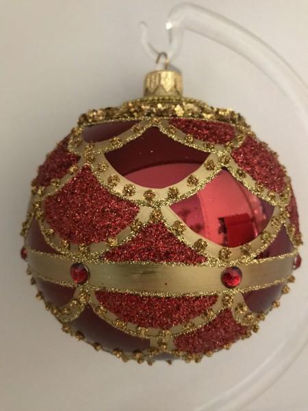 Rote Kugel mit goldenem Barock Muster, rote Steine
