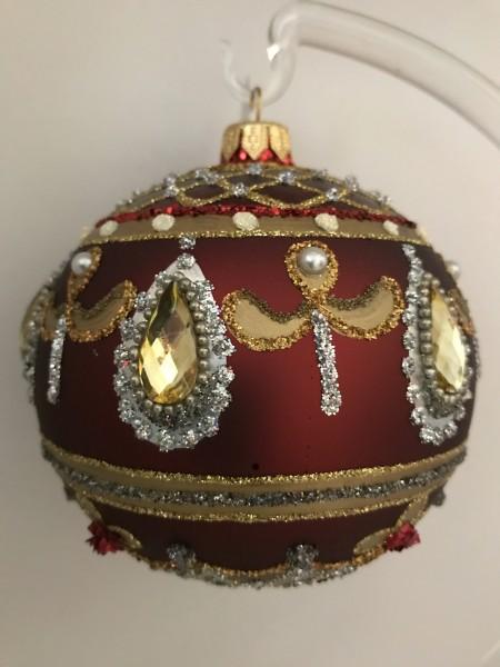 Rote Kugel mit goldsilber Barock Muster, goldene Steine