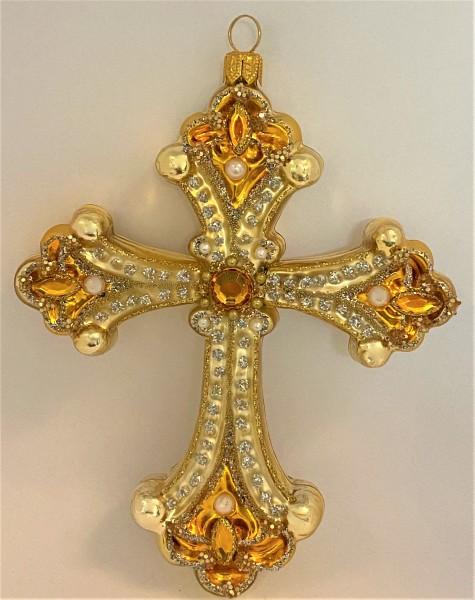 Kreuz, Gold mit Schmucksteinen