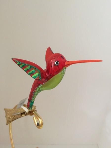 Kolibri auf Clip, rot/grün transparent