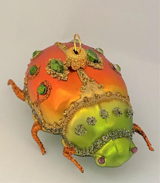 Käfer, orange, grün mit Schmucksteinen