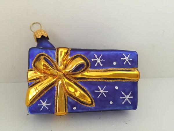 Geschenkpäckli blau mit goldenem Band