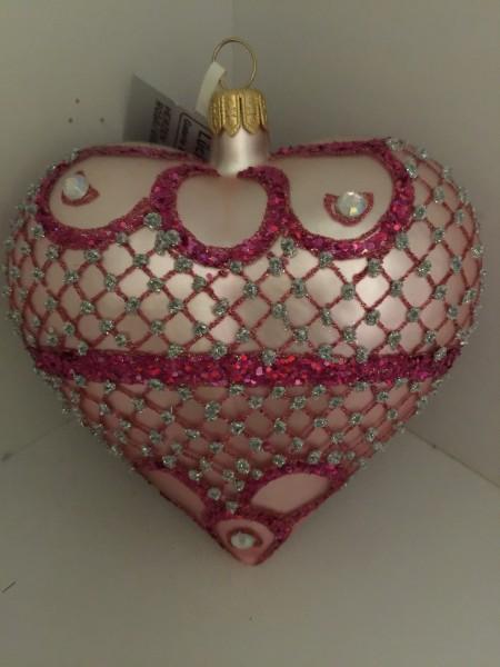 Herz rosa matt, reich verziert