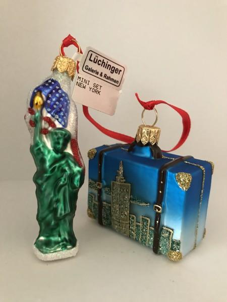 New York mit Freiheitstatue, , Set mit Reisekoffer