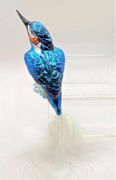 Eisvogel auf Clip, blau mit weisser Naturfeder